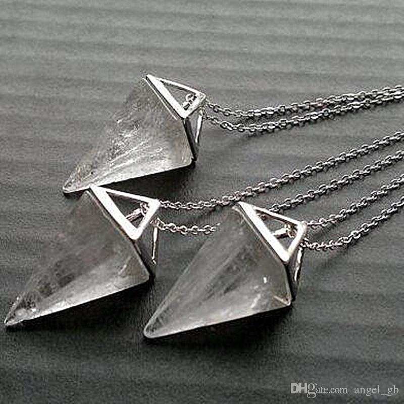 Clear Quartz Halskette Dreieck Geometrische Silber Pendel Anhänger Clear Stone Halskette Clear Quartz Schmuck