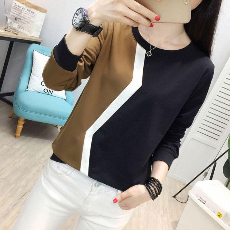 Plus Size Tshirt Women Fashion Long Sleeve T-shirt Women Tops Casual Camiseta femme Patchwork Tshirts Women Poleras Mujer 2019 (8)