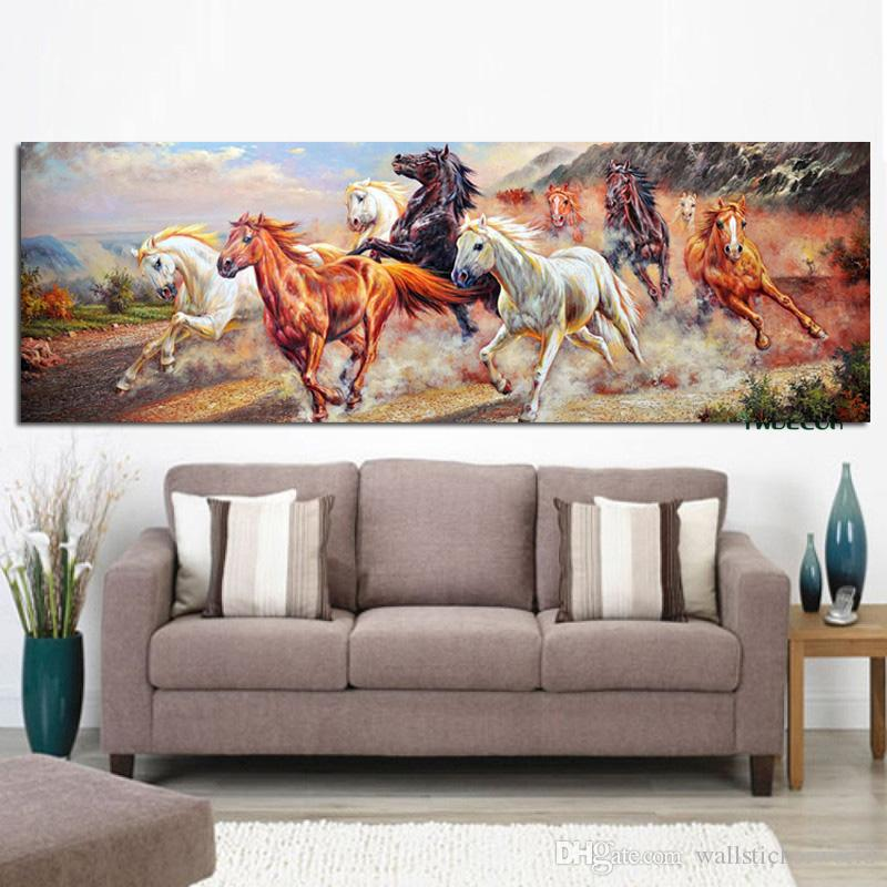 1 Piece Abstract Nine Running Horse Wall Art Cuadros Canvas Painting & Calligraphy HD Print Poster Modern Wall Pictures No Framed