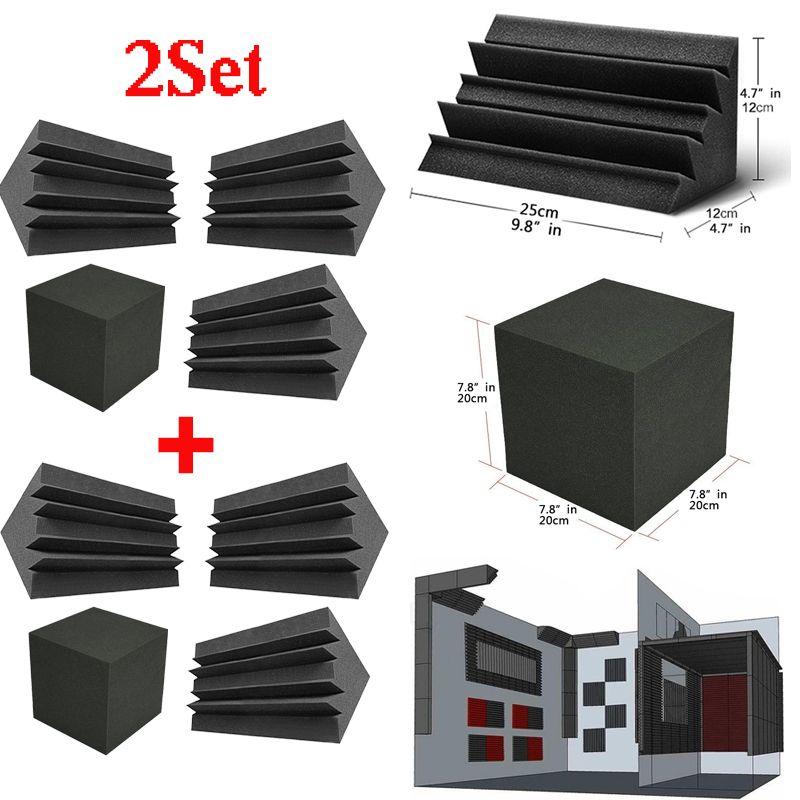 2 مجموعة باس فخ رغوة جدار الزاوية الصوت امتصاص الصوت رغوة تسجيل استوديو ملحقات الضوضاء التحكم الصوتية لوحات العلاج 4Psc / مجموعة