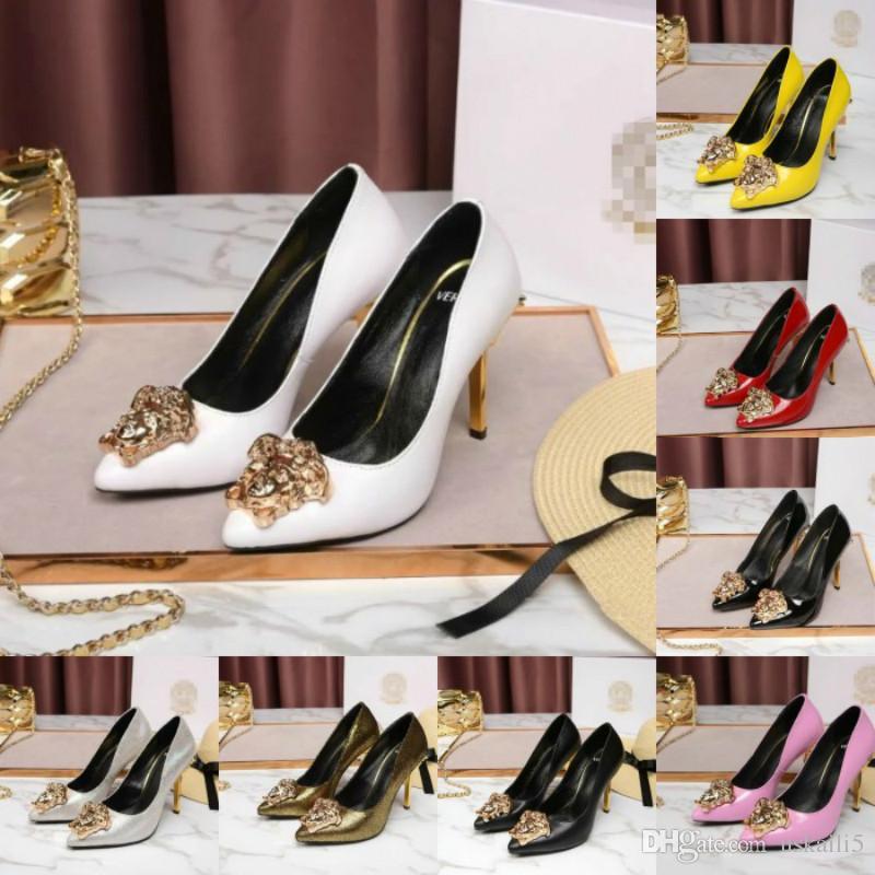 Sapatos femininos de salto alto novo couro de patente de metal fivela de couro raso stiletto sapatos de salto alto botas de luxo das mulheres