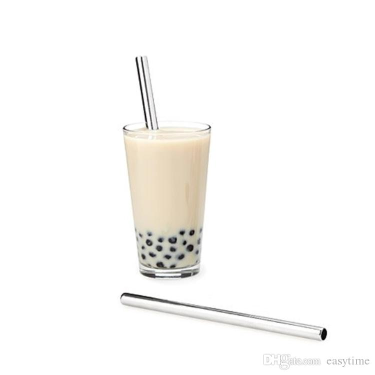 Eco-friendly food grade easy to clean super wide 12mm metal stainless steel drinking straw bubble milk tea straws reusable