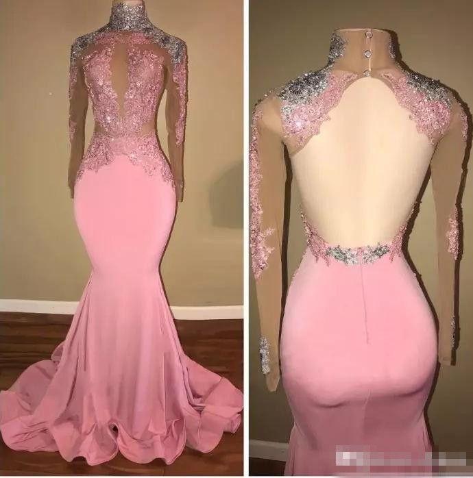 Sexy rosa backless collo alto abito da sera sirena paillettes perline in rilievo abito da partito a maniche lunghe maniche lunghe