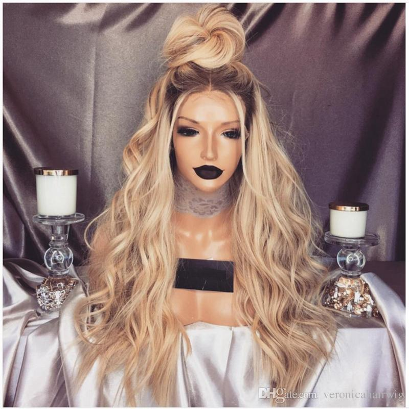 Hot 180% Density Brown Roots Long Blond Wavy Wigs with Baby Hair Glueless Synthetic Ombre Blonde Lace Front Wigs For Women Heat Resistant