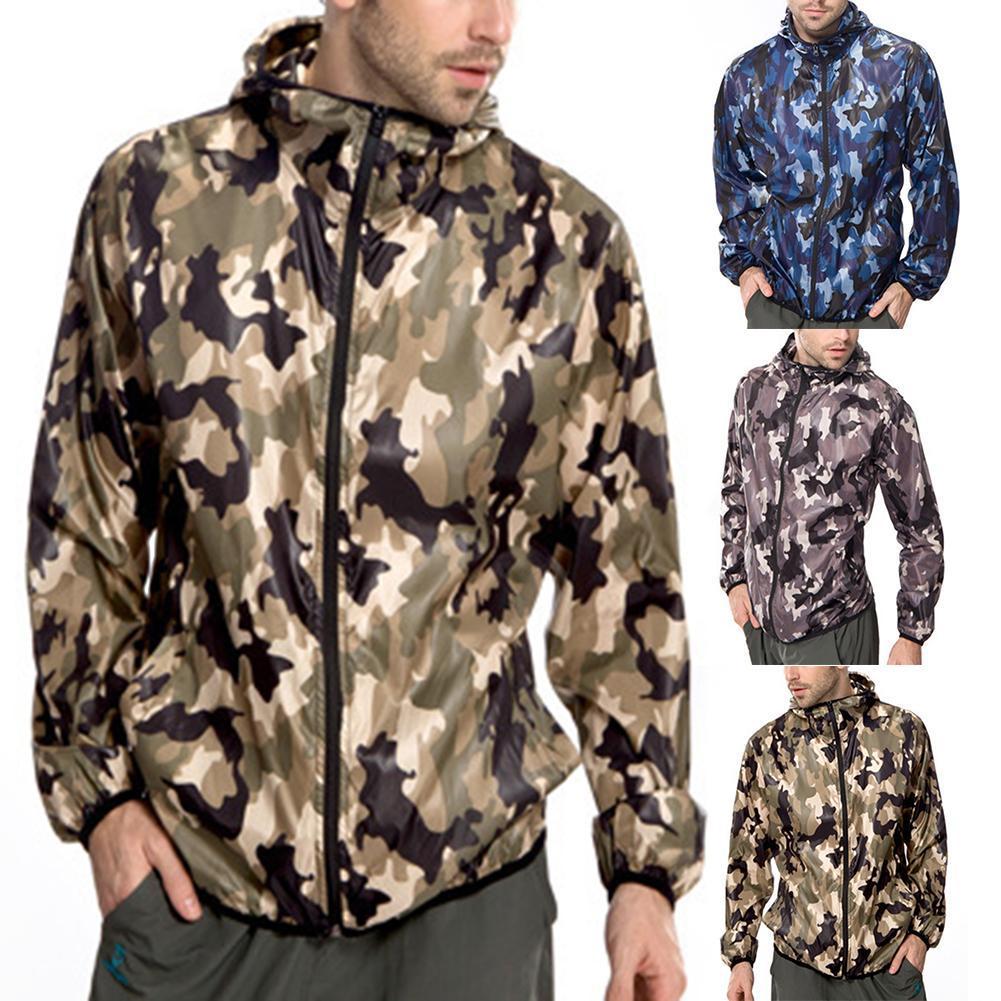 Felpa a maniche lunghe da uomo con cappuccio giacca da running Felpa a maniche lunghe Tuta larga giacca a vento mimetica