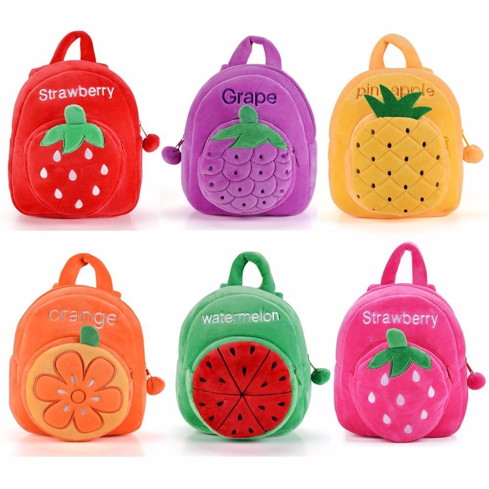 Felpa de dibujos animados de frutas Mochila 2017 nuevas de la fresa del niño de los niños bolsas de regalos para la edad 1-3 yeards Kinder Niños Niñas