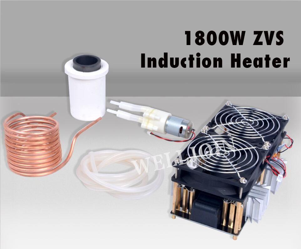 1800W ZVS Chauffage par induction Chauffage par induction PCB Panneau Machine de chauffage à haute fréquence en métal fondu + bobine Mayitr + Crucible + Pompe