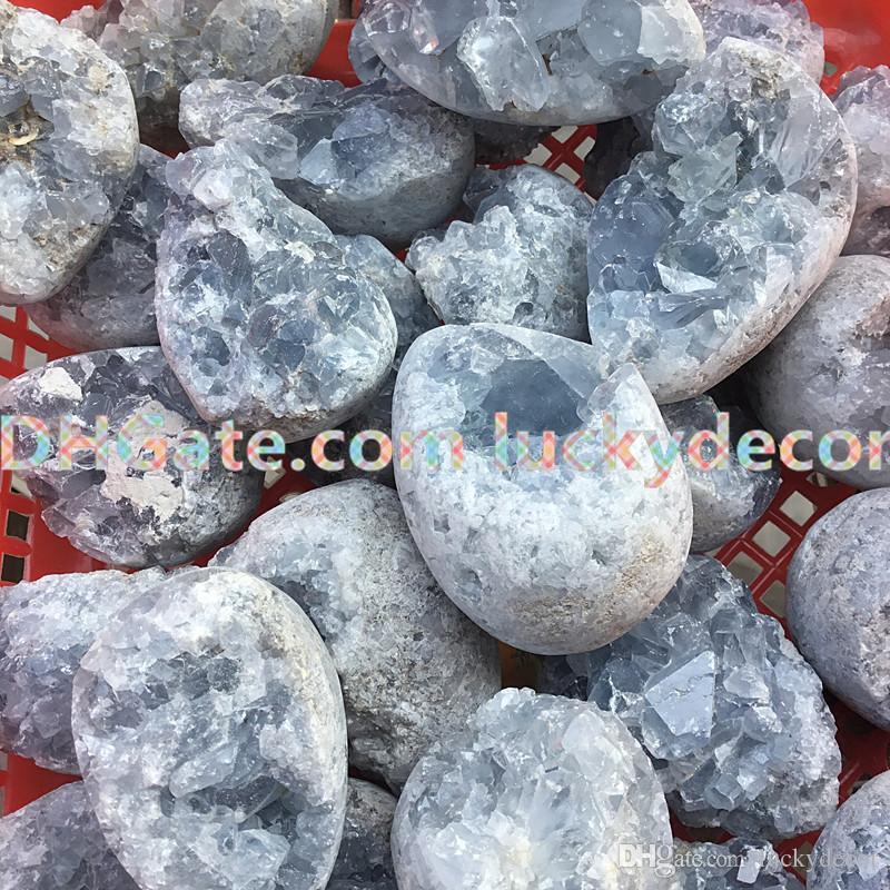 1kg Natural Raw Blue Celestite Mineral Healing Quartz Crystal Cluster Geode Irregular Home Decor Gemstone Specimen 5cm-8cm for Dream Recall