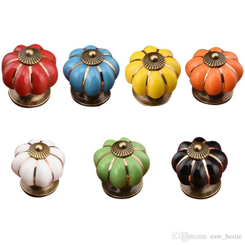 7 Cores Abóboras Armários de Cozinha Maçanetas Do Quarto Armário de Cerâmica Porta Puxadores Com Parafusos 4 * 4 * 4 cm