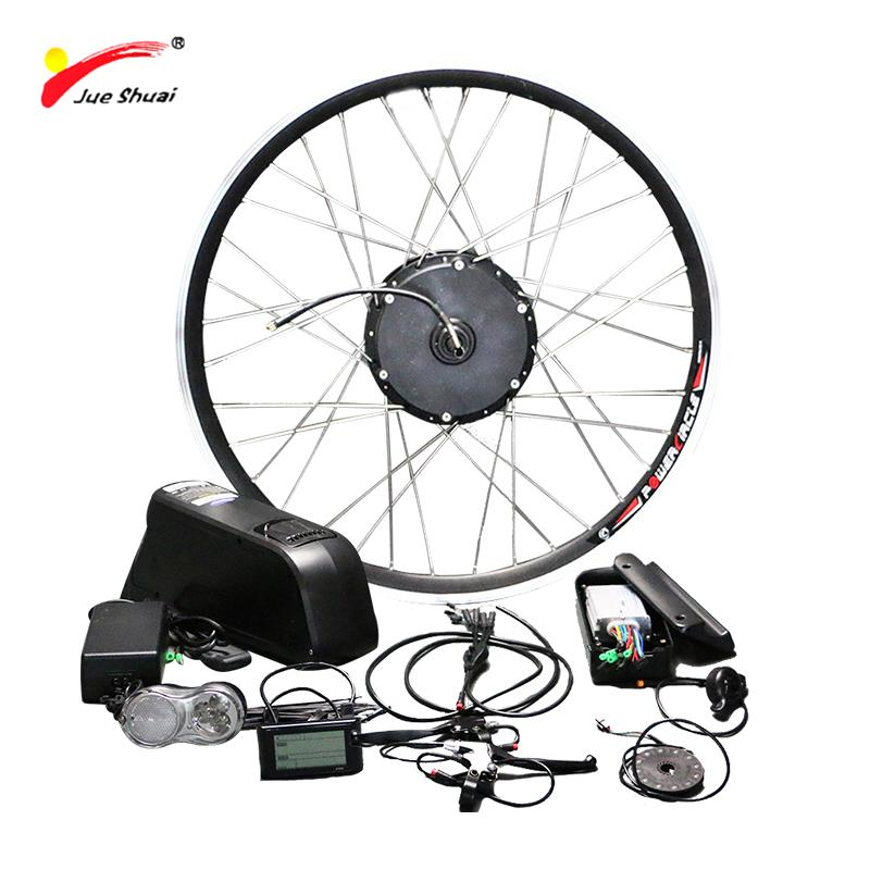 "wholesale Free Shipping 48V 500W Electric Bike Conversion Kit with Lithium Battery LCD Display 26"" 700C Ebike motor bicycle wheel"