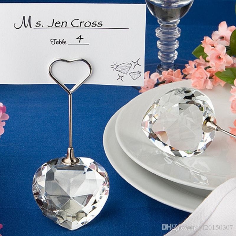 Clear Crystal Heart Shaped Place Card Holders Wedding Favors in Gift Box Name Card Holders Clips Wholesale