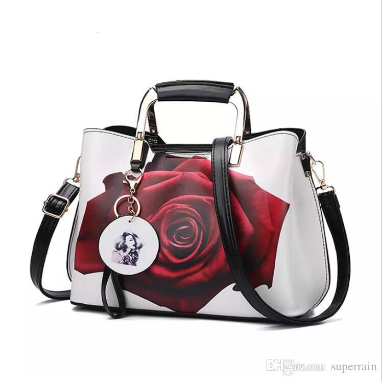 여자 핸드백 패션 스타일 여성 페인트 어깨 가방 꽃 패턴 메신저 가방 가죽 캐주얼 토트 저녁 가방
