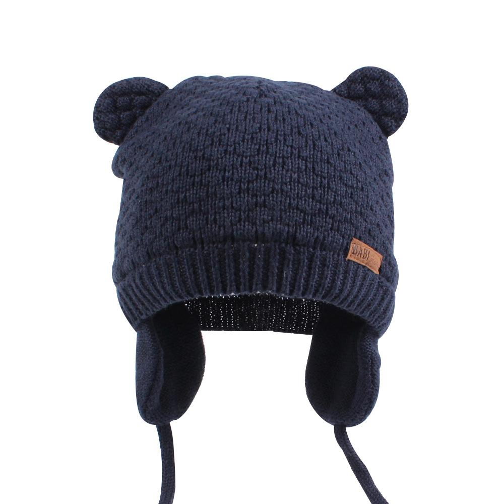 Bear Ears Cute Baby Hat Soft Cotton Newborn Baby Beanie Double Layer Warm Winter Hat For Baby Girls Boys Knitted Kids Hats New (4)