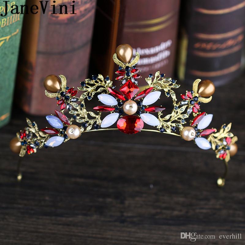 JaneVini Vintage Barroco Oro Novia Corona de Lujo Sombrero de Perla Pageant Mujeres Nupcial Tiaras Joyería Del Pelo Ornamento de la Boda Accesorios Para el Cabello