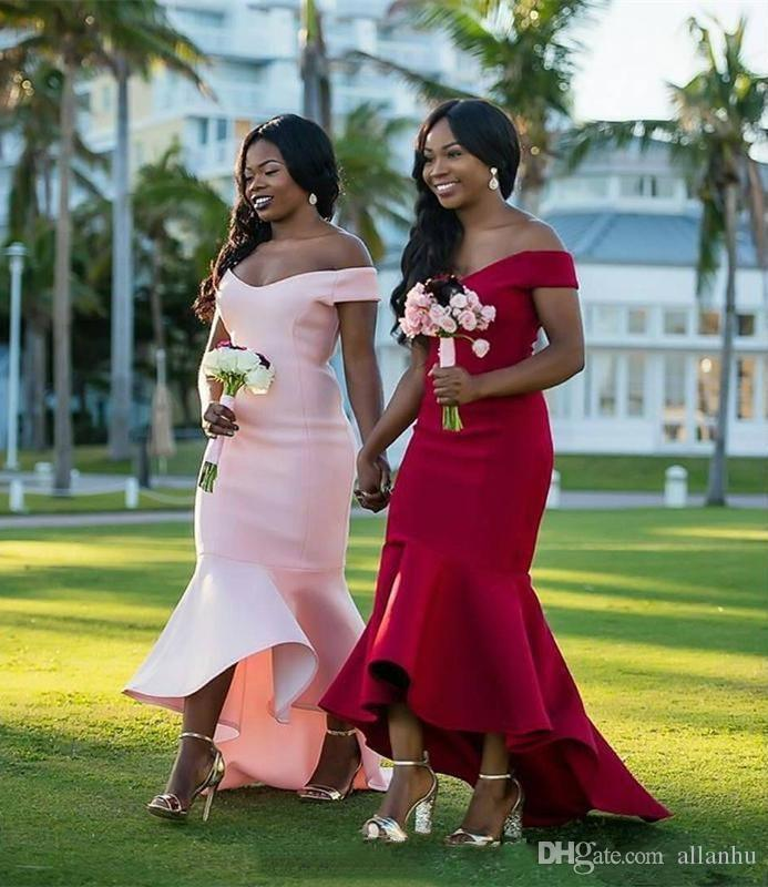 Nigerian African Red Pink Cheap Simple 2018 Mermaid Bridesmaid Dresses Off Shoulder Hi-Lo Maid of the Honor Wedding Party Dresses
