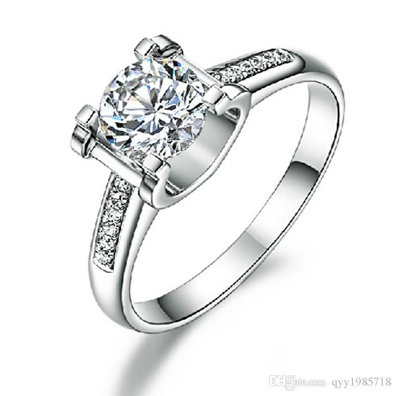 Classic 1CT Sona Anillo de diamante sintético 925 joyería de plata esterlina 18 K oro blanco plateado anillo de boda de compromiso mujeres