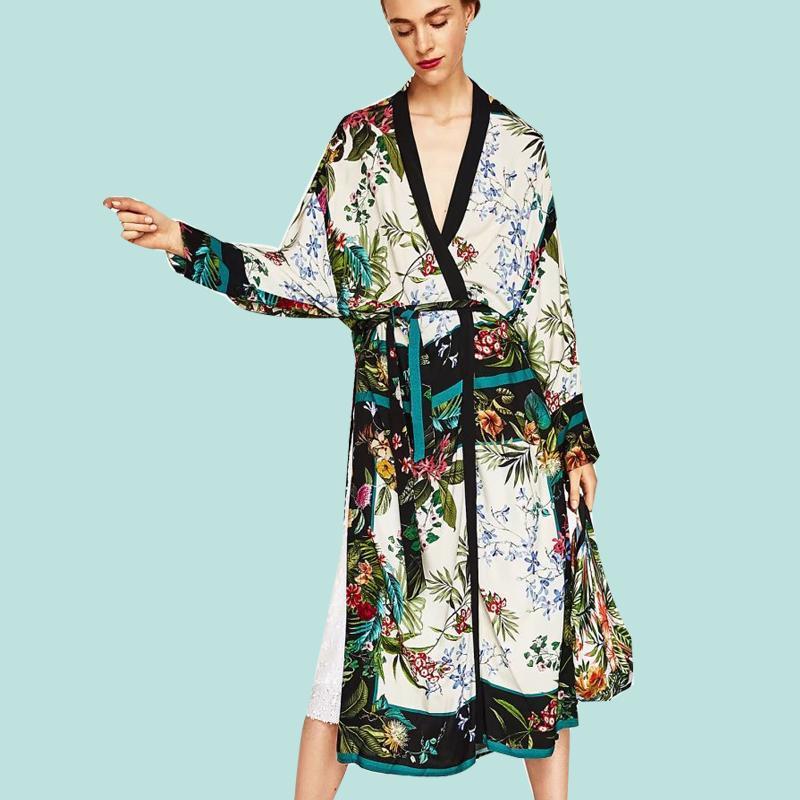 [CHENS SISTER] 2018 New Autumn New Long Print Floral Kimono Coat Ladies Print Shawl Cardigan Coat Long Sleeve Ladies Thin