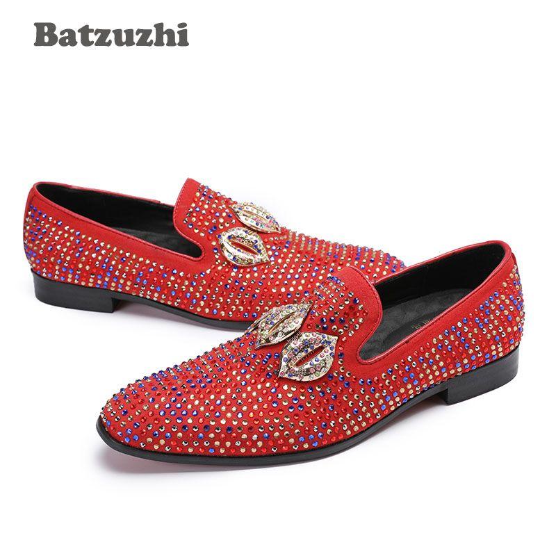 2018 Zapatos Hombre di lusso a mano in pelle da uomo scarpe di cristallo strass vestito scarpe da uomo mocassini rosso scarpe maschili, grandi dimensioni US6-12