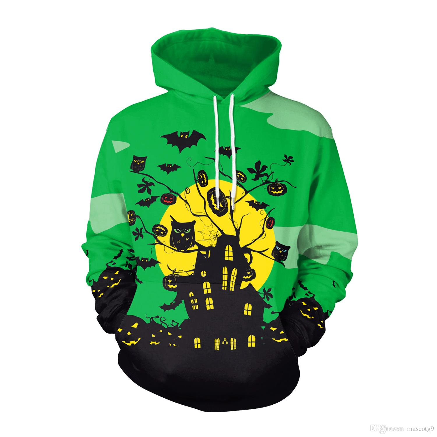 Winter Halloween Party cosplay costumes Over size Hoodies Haunt The House Bat Horror Digital Printed Sweatshirt