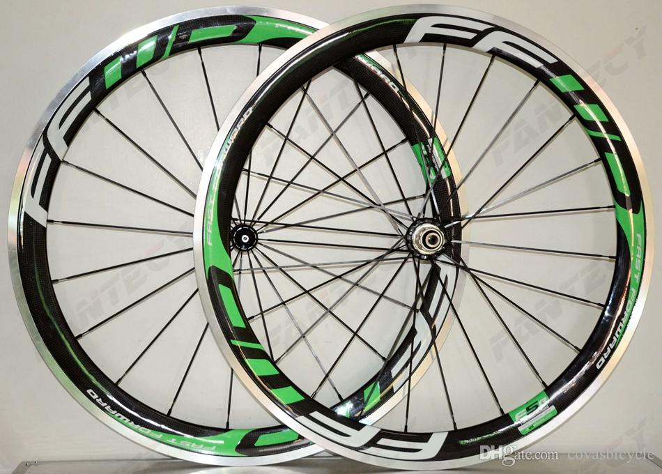 700C 50mm depth alloy brake surface carbon wheels road bike wheelset 23mm width Clincher alloy rim 3k Glossy finish with FFWD decals
