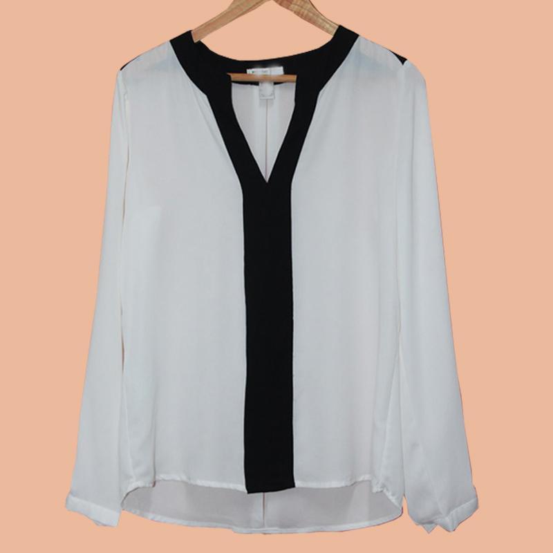 Camicette in chiffon manica lunga grande vendita per le donne camicette di patchwork scollate con scollo a V profonda estate camicie casual da donna
