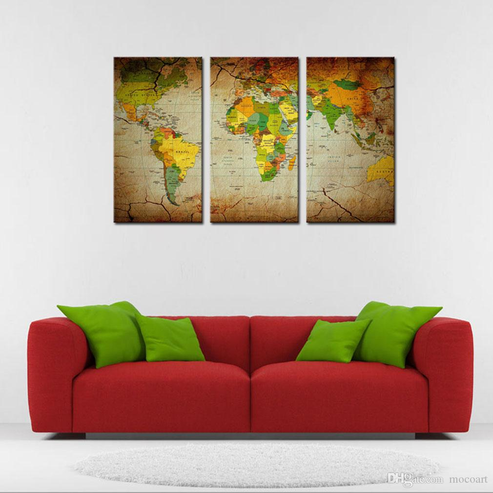 Moco Art 3 Pieces World Map Canvas Painting World Map Picture Printed Canvas Painting For Home Wall Decoration Living Room Decor Unframed