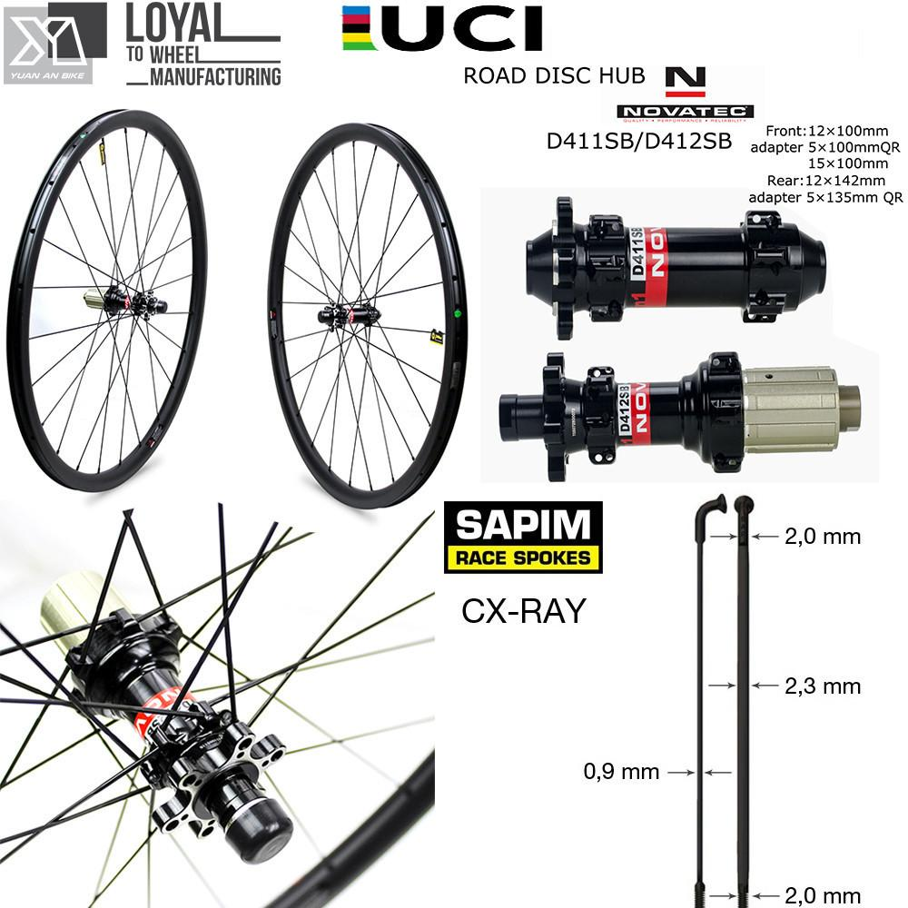 LOLTRA Carbon Fiber Disc Brake Wheelset 700C Road Bicycle Cyclocross Bike Wheels with 6 Bolts Novatec D791SB D792SB Hub
