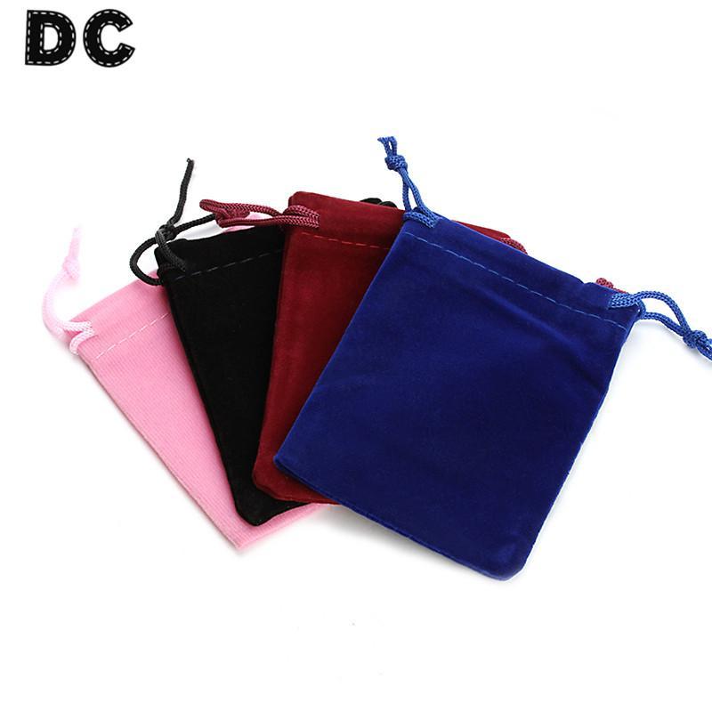 DC 10 SZTUK Czarny Red Pink Royal Blue Drawstring Velvet Organza Torby Pokrowiec 7 * 9mm Fit Boże Narodzenie Biżuteria Gifts Pakowanie Pakowanie F1746