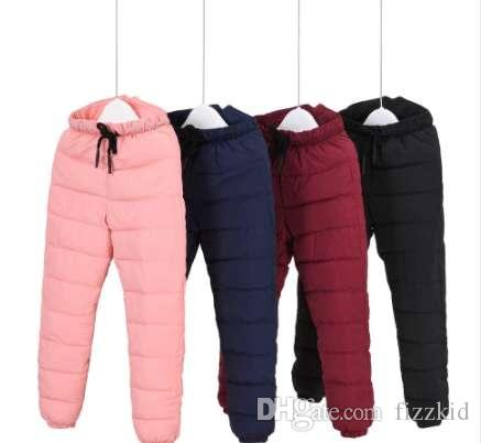 Зима девушки брюки полная длина дети брюки теплые утолщаются вниз хлопок открытый ветрозащитный мальчики брюки для 90-140 см