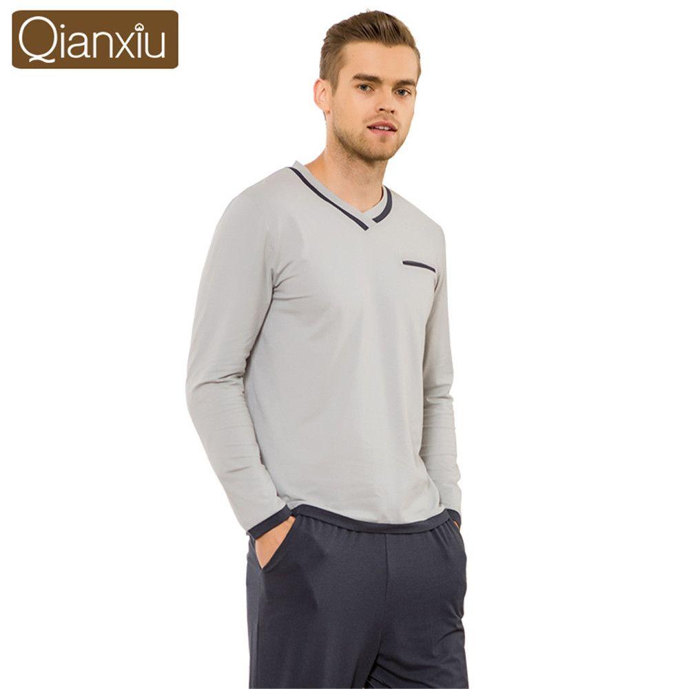 Qianxiu 2017 High-end marka erkek Pijama Bahar Uzun Kollu v yaka Pijama Set erkek eğlence Ev Giyim Pijama Takımı Loungewear