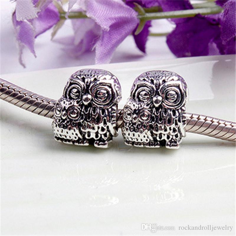 Carino fascino in lega di due gufi per Pandora bracciale catena del serpente o collana gioielli di moda branello allentato nuovo arrivo