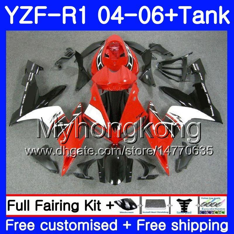 Corpo + serbatoio per YAMAHA YZF 1000 YZF R 1 YZF-R1 2004 2005 2006 232HM.40 YZF1000 YZF R1 04 06 YZF-1000 YZFR1 04 05 06 Carenatura Rosso bianco nero