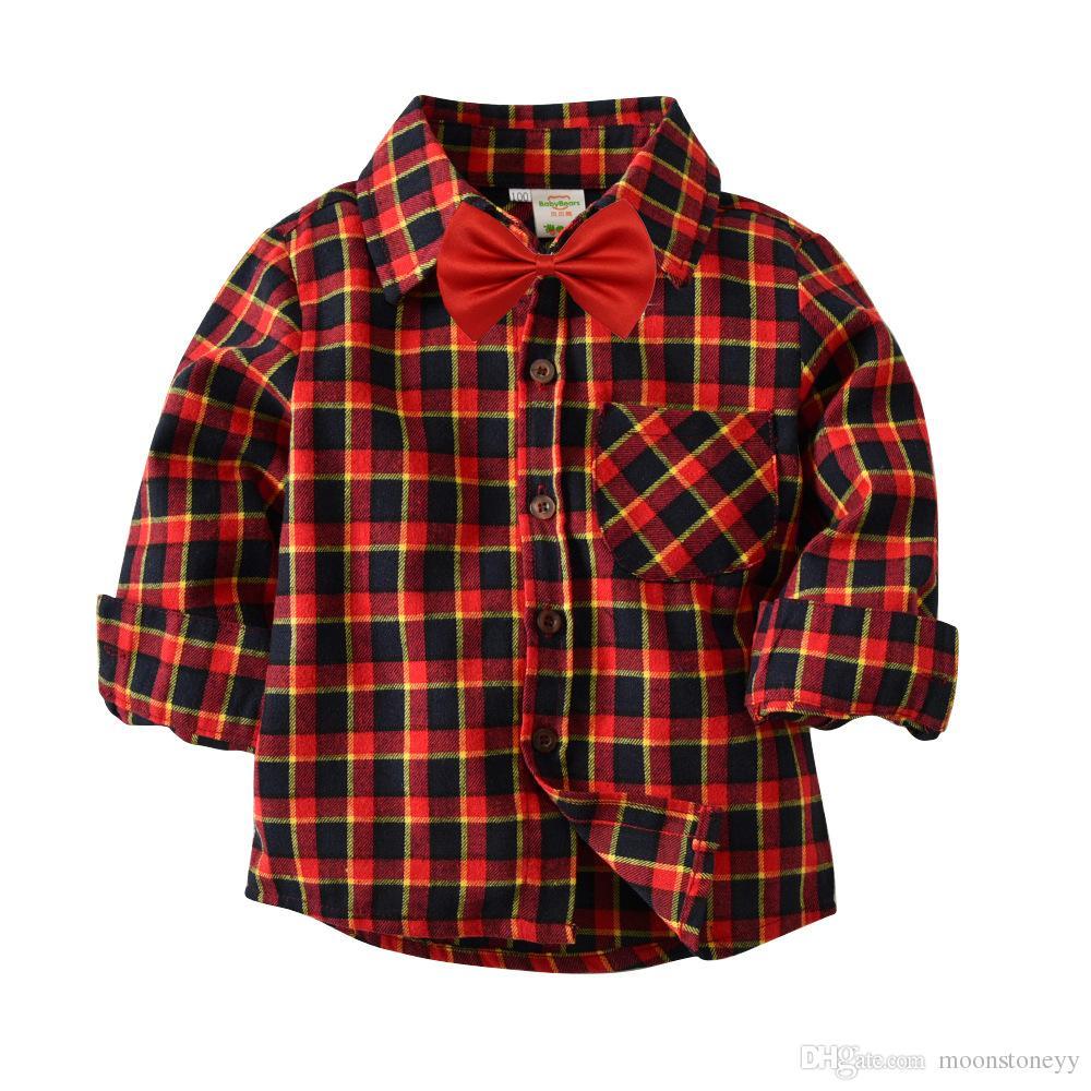 Moda crianças flanela xadrez camisas de manga comprida camisa da escola do miúdo Com Decote Em V bebê menino algodão outono camisas para crianças roupas topos