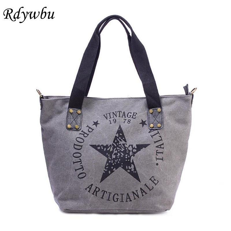 Rdywbu BIG STAR PRINTING VINTAGE CANVAS SHOULDER BAG - Women's Plus Size Multifunctional Travel Tote Handbag Letters Bolsos B201 D18101303