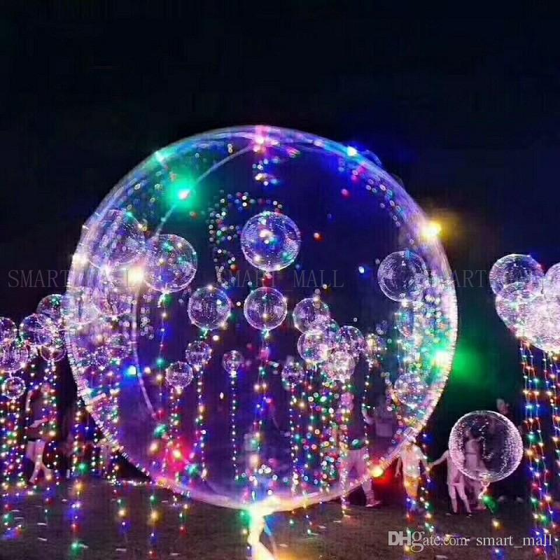 Colorful LED Light Helium BOBO Balloons New Year Christmas Multi Color Party Wedding Holiday Decorations Children Favorite Balloon 18 inches
