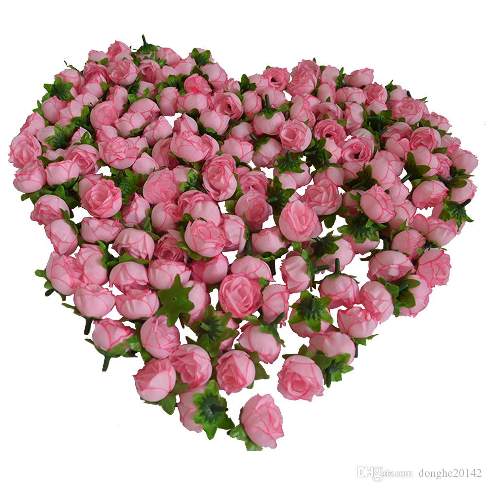 100Pcs Rose Flower Artificial Silk Flower Head DIY Bud Party Wedding Home Decor