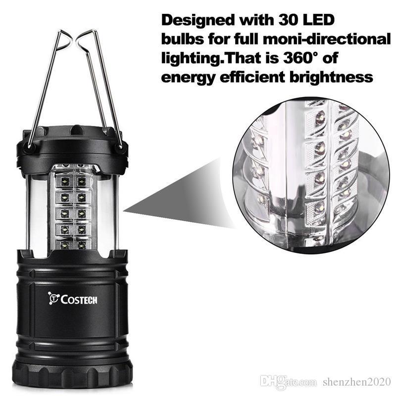 Lanterne pieghevoli di 30 LED hanno condotto la luce della parete del percorso della lampada del giardino del prato inglese della luce eccellente delle tende di campeggio eccellenti luminose 2018 buone