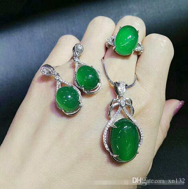 Doğal Yeşil Kalsedon Akik Kakma 925 Gümüş Kolye Küpe Yüzük Canlı Üç parçalı Takı Seti Hediye