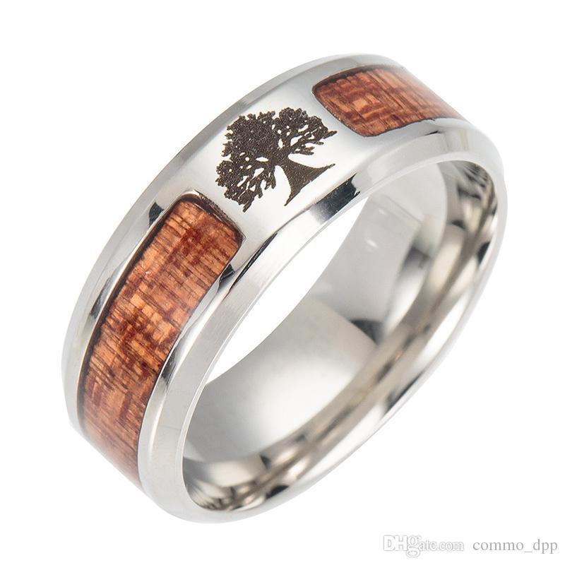 Alta calidad pareja anillos de madera de los hombres s cruz árbol de la vida anillo de madera de acero titanium masónico para las mujeres joyería de moda a granel