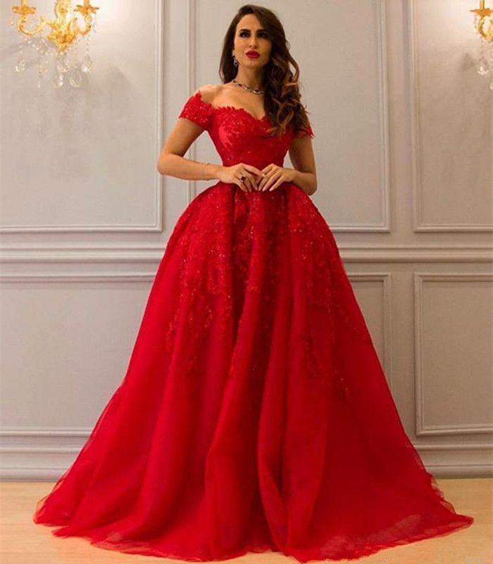 Abiti Rossi Eleganti.Elegant Off Shoulder Red Evening Dresses Lace Appliques Crystal