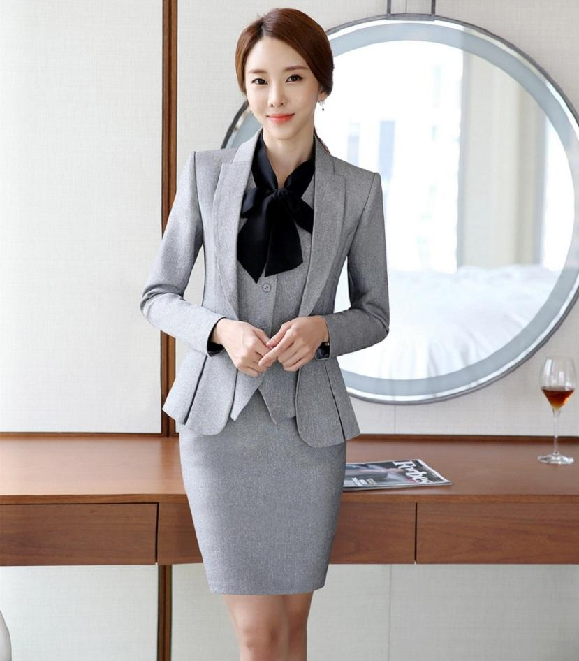 Wholesale-Novelty Grey Formal Styles Professional Business Women Work Suits With 3 Pieces Jackets +Vest +Skirt Ladies Blazers Outfits