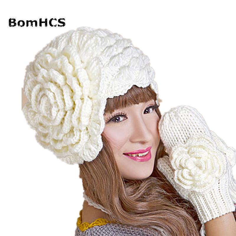 BomHCS Inverno Quente Beanie Luvas Terno Artesanal Malha Crochet Hat Caps Luva com uma Flor Grande (preço para o chapéu ou luvas) D18110601