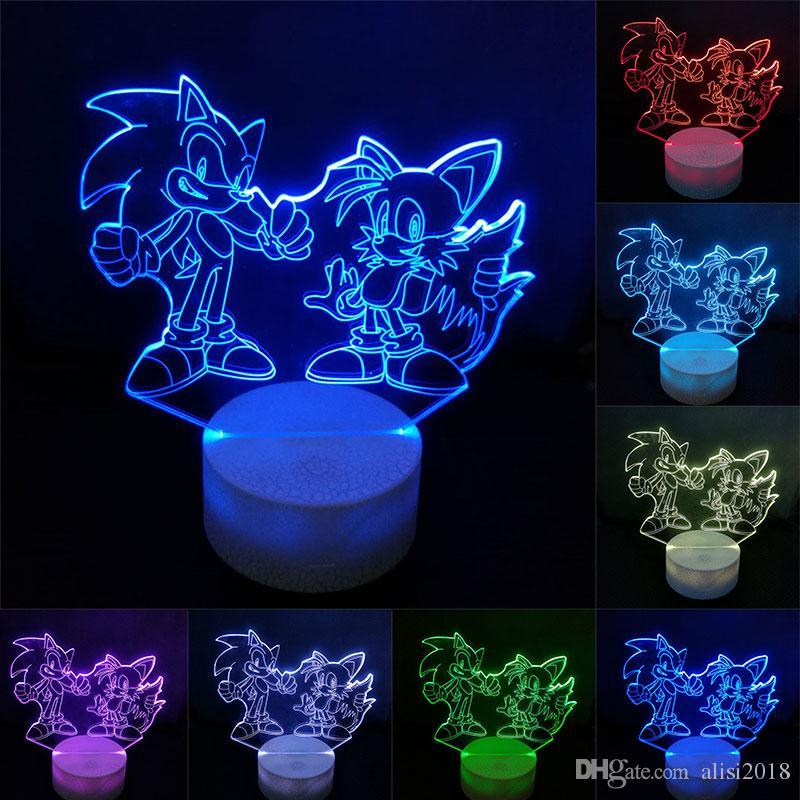 سونيك عمل الشكل 3D الجدول مصباح LED تغيير منتديات القنفذ سونيك مايلز نموذج لعبة الإضاءة الجدة ليلة الخفيفة
