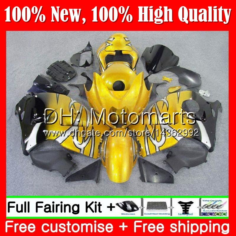 Cuerpo para SUZUKI Hayabusa GSXR1300 96 07 GSX R1300 56MT90 GSXR-1300 Oro negro GSXR 1300 1996 1997 1998 1999 2000 2001 Fairing Bodywork