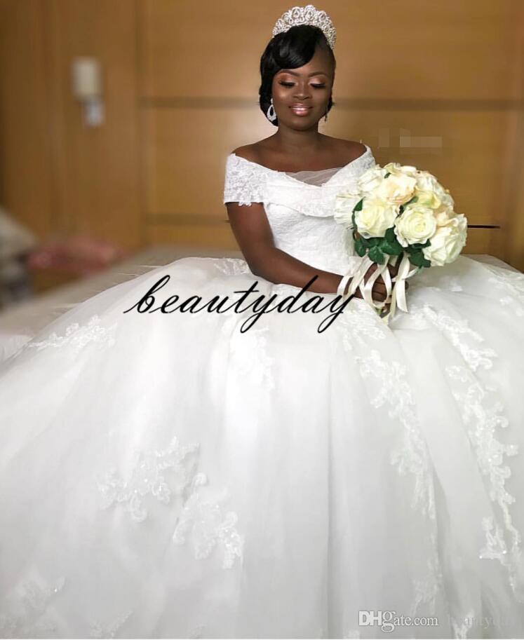 2019 Vestidos de novia modestos para la novia africana nigeriana Novia árabe Túnicas Vestido de fiesta Vestido de novia vintage Vestidos de novia embarazadas de maternidad