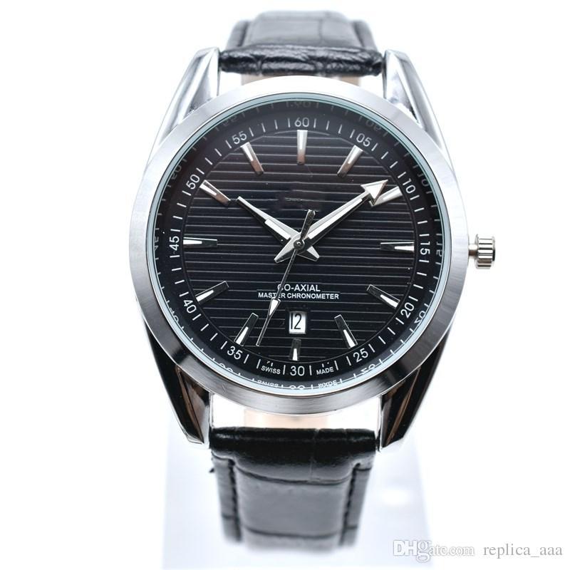 In vendita nuovo stile 40mm rotondo in pelle al quarzo moda uomo orologi auto data uomini vestito designer orologio all'ingrosso regali maschili orologio da polso relogios