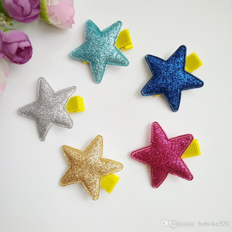 30pcs / lot multi Farben Glänzender Stern Haarspangen für Kinder Mädchen Kinder Haarschmuck Baby Haarnadeln Haarspangen