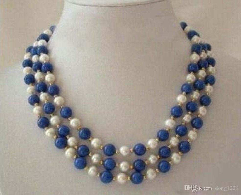 3 строки реальный белый жемчуг лазурит Застежка ожерелье
