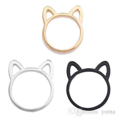 نمط جديد زوجين مجوهرات فضة / أسود / ذهبي اللون خاتم لطيف القط الأذن خواتم للنساء بالجملة