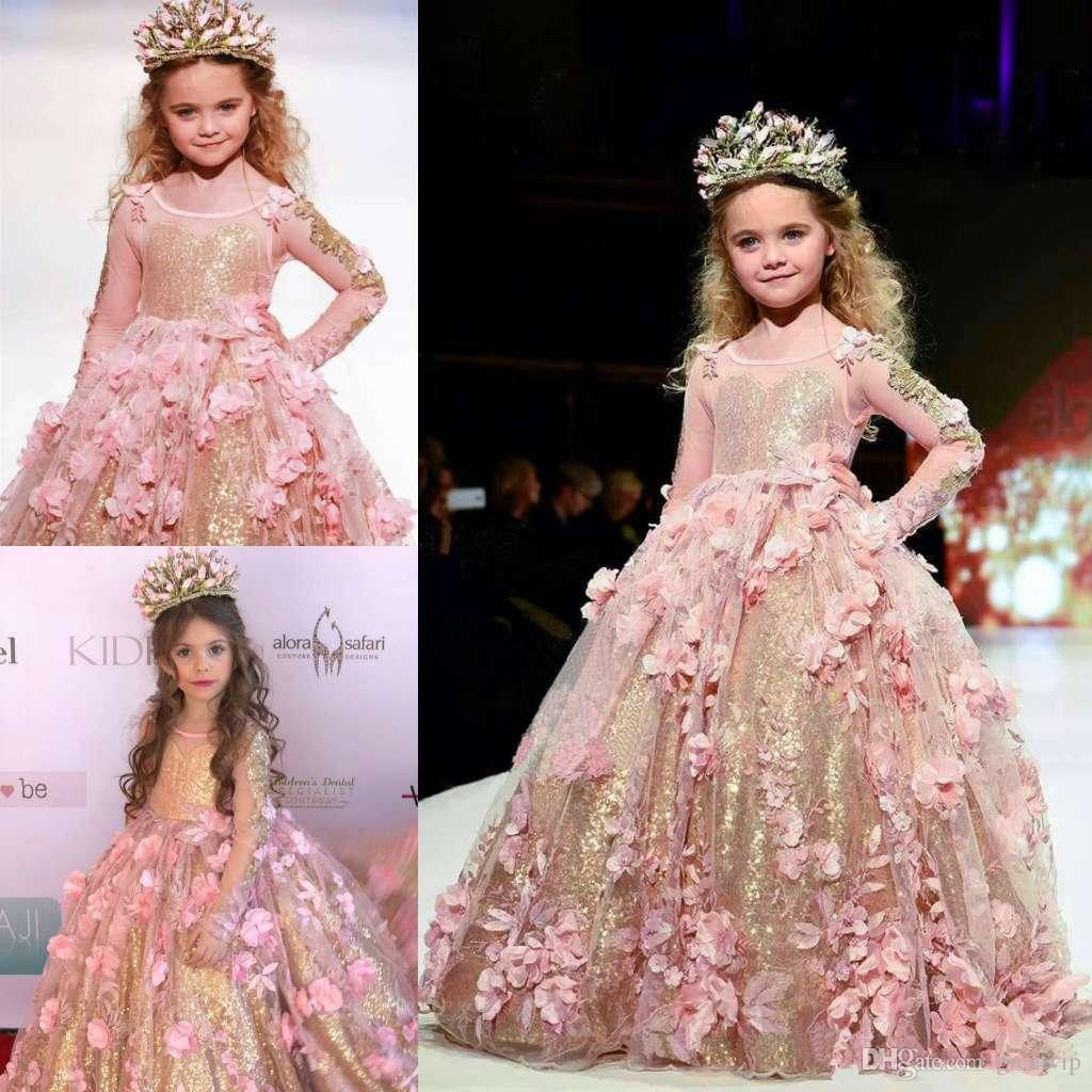 Gold Girls Pageant Dresses Sequined Ball Gown Long Sleeves Toddler Flower Girl Dress Floor Length 3D Appliques First Communion Gowns